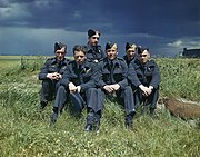 Flight Lieutenant Joe McCarthy (fourth from left) and his crew of No. 617 Squadron (The Dambusters) at RAF Scampton, 22 July 1943. TR1128