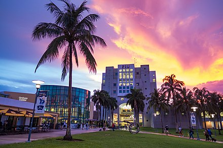 Florida International University, with its main campus in nearby University Park, is the largest university in South Florida and the fourth largest university in the United States. It is also one of Florida's primary research universities. Florida International University.jpg