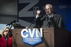 Former Secretary of Defense Donald Rumsfeld speaks at the christening ceremony for the aircraft carrier Gerald R. Ford (CVN 78) Nov. 9, 2013, at Newport News Shipbuilding in Newport News, Va 131109-N-WL435-466