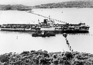 HMS Formidable damaged in 1945