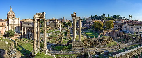 View of the Roman Forum from the Capitoline Museums in Rome.