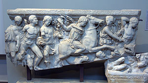 Archaeological Museum of Thessaloniki - Fragments of a marble sarcophagus depicting the Caledonian boar-hunt.