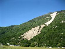 La frana del Valegión di Preonzo (Canton Ticino) dopo il franamento del 2012.
