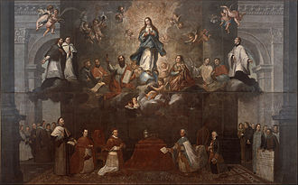 "Representation of the two powers, church and state, symbolized by the altar and the throne, with the presence of the king Charles III and the Pope Clement XIV, seconded by the Viceroy, Antonio Bucareli, and the Archbishop of Mexico, Alonso Nunez de Haro, respectively, before the Virgin Mary. ""Glorification of the Immaculate Conception"". Francisco Antonio Vallejo - Glorification of the Immaculate Conception - Google Art Project.jpg"