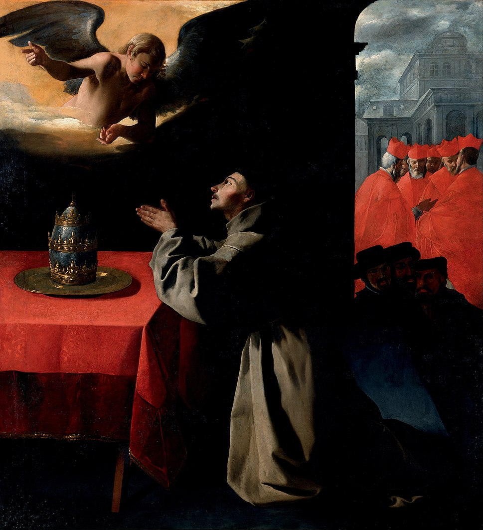 Francisco de Zurbar%C3%A1n - The Prayer of St. Bonaventura about the Selection of the New Pope - Google Art Project