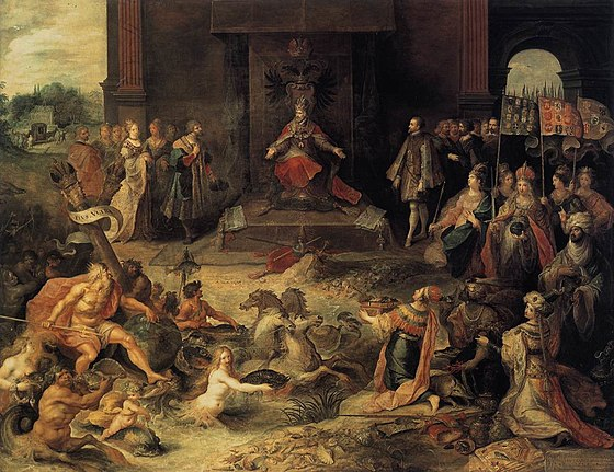 In Allegory on the abdication of Emperor Charles V in Brussels, Frans Francken the Younger depicts Charles V in the allegorical act of dividing the entire world between Philip II of Spain and Emperor Ferdinand I. Francken II, Frans - Allegory on the Abdication of Emperor Charles V in Brussels, 25 October 1555, - c. 1620.jpg