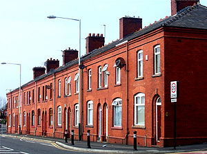 Accrington brick - Fredrick Street, Werneth, Oldham, with houses built from Accrington bricks, showing their quality and colour