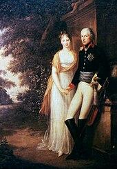Friedrich WilhelmIII. und Königin Luise im Park von Schloss Charlottenburg, Ölgemälde von Friedrich Georg Weitsch, 1799 (Quelle: Wikimedia)