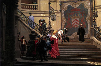 Éminence grise - François Leclerc du Tremblay is the figure in black depicted descending the staircase in this oil painting by Jean-Léon Gérôme