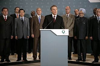 Reactions to the 2005 London bombings - Prime Minister Tony Blair, flanked by the G8 leaders, reads a statement on their behalf condemning the attacks in London