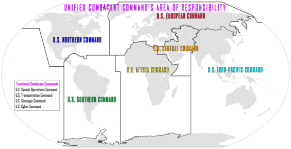 An example of military command; a map of the United States' Unified Combatant Command's area of responsibility. GCCMAP.png