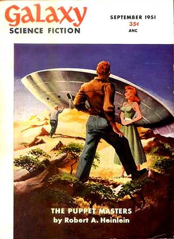The opening installment of The Puppet Masters took the cover of the September 1951 issue of Galaxy Science Fiction. Galaxy 195109.jpg