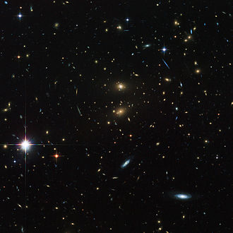 Galaxy groups and clusters - Galaxy Cluster LCDCS-0829 acting like a giant magnifying glass. This strange effect is called gravitational lensing.