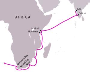 Rota de Vasco da Gama desde a África do Sul até à Índia