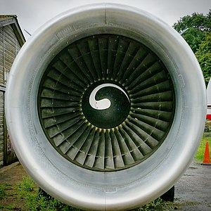 Gatwick Aviation Museum - The General Electric CF6 turbo-fan gas turbine outside Gatwick Aviation Museum.