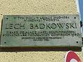 Gdańsk Targ Rybny – tablica Lech Bądkowski.JPG