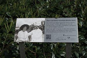 Helene Bresslau Schweitzer - Memorial plaque of Schweitzer, left, and her husband Albert, right, in Basel