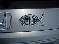 "A humoristic parody: ""Gefilte fish"" on an automobile"