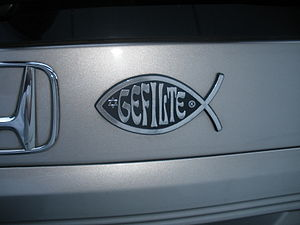 "Jewish humour - ""Gefilte fish"" on an automobile, a humoristic parody of the fish symbol"