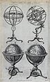 Geography; four types of globe. Engraving. Wellcome V0025077.jpg