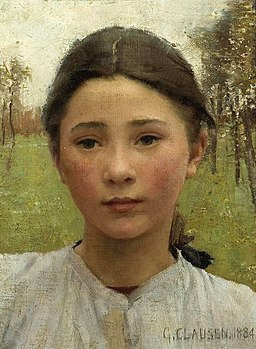 George Clausen - The Head of a young girl