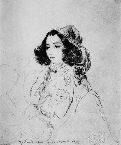 Жорж Санд. Портрет работы А. де Мюссе. 1833.