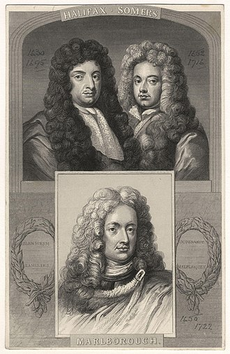 George Savile, 1st Marquess of Halifax - The Marquess of Halifax during his time as William III's Lord Privy Seal, pictured with John Somers, 1st Baron Somers (Lord Chancellor) and John Churchill, 1st Duke of Marlborough (Commander-in-Chief of the Forces).