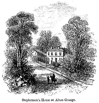 Leicester and Swannington Railway - Stephenson's House at Alton Grange, (Samuel Smiles 1857)