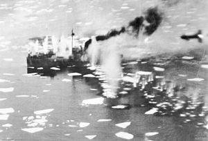 Black Friday (1945) - A German ship under attack in Førde Fjord
