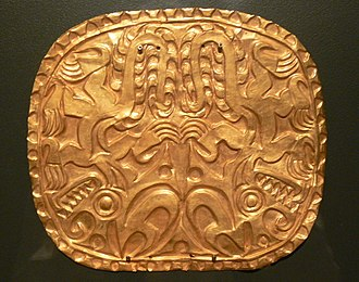 History of Panama (to 1821) - Amerindian gold plaque from Panama, 500–1000 AD
