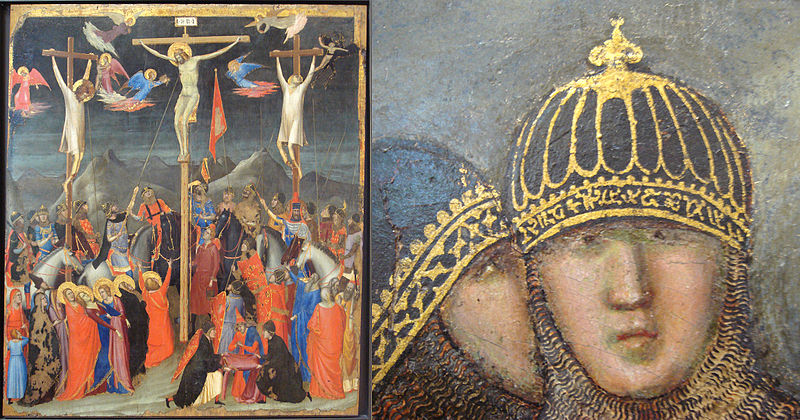 File:Giotto Crucifixion circa 1330 with soldier wearing headband in pseudo Mongol script.jpg