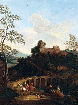 Giovanni Battista Busiri - Roman landscape near a bridge