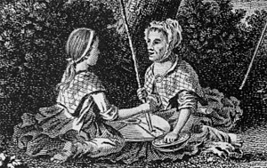 Ponytail - Detail from an 18th-century engraving showing a girl (left) with a ponytail