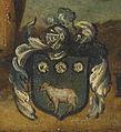 Giulio Cesare Angeli Übergabe des Rosenkranzes Detail Wappen.jpg