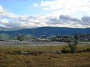 Occupation of Gori - A Georgian military base near Gori largely demolished by Russian troops.