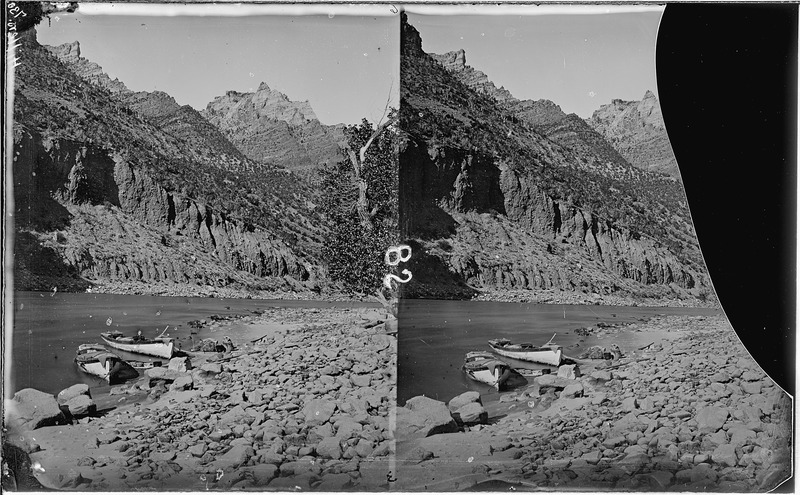 File:Green River. Split Mountain Canyon, not far from no. 694, above it. Photo shows two boats anchored, - NARA - 517938.tif