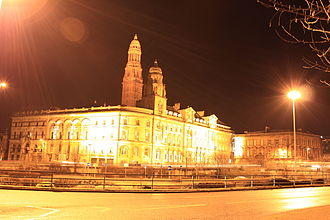 European route E05 - The start of E05 at Greenock Town Hall