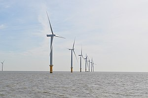 Gunfleet Sands Offshore Wind Farm - The farm from a passing ship, 30 September 2010