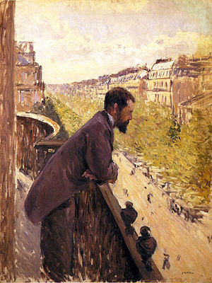 Man on a Balcony - Gustave Caillebotte, c.1880, L'Homme au balcon (Man on a Balcony), oil on canvas, 116 x 97 cm, private collection