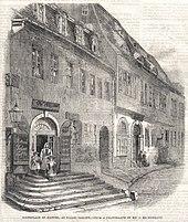 Älteste bekannte Darstellung von Händels Geburtshaus, Stich aus The Illustrated London News vom 18. Juli 1859 (Quelle: Wikimedia)