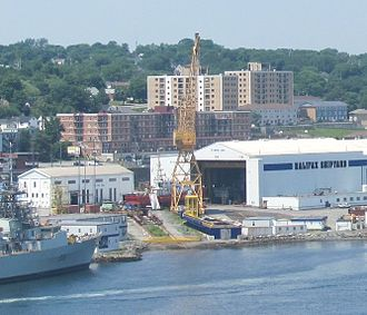 Halifax Shipyard - A Hero Class patrol vessel is readied for launch at Halifax Shipyard, 2013