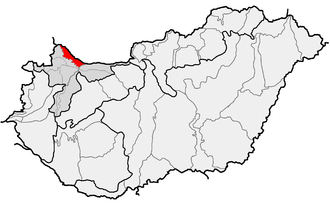 Szigetköz - Location of Szigetköz (in red) within geographical subdivisions of Hungary