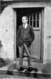 H. G. Wells in 1908 at the door of his house at Sandgate
