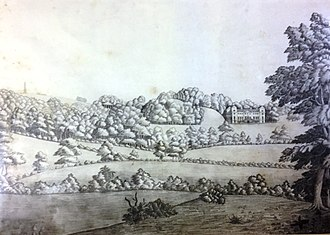 Hagley Park, Worcestershire - A 19th century pencil sketch of the Park showing Hagley Hall, the Temple of Theseus and Wychbury Obelisk