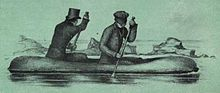 Two men rowing a low-lying boat