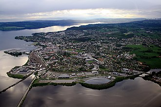 Hamar - mid-June 2009 aerial photograph of Hamar