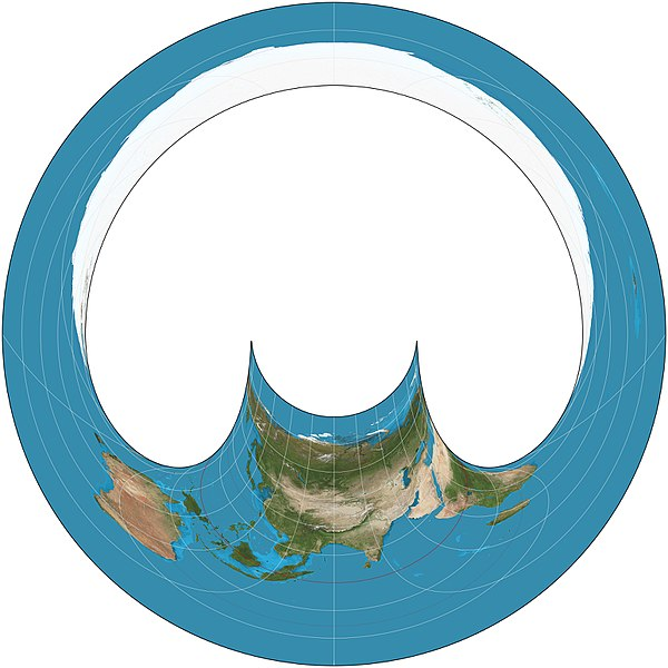 The back hemisphere of the Hammer retroazimuthal projection. 15deg graticule; center point at 45degN, 90degW. Hammer retroazimuthal projection back SW.JPG