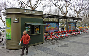 Hangzhou Public Bicycle - Hangzhou bike sharing station adjacent to West Lake