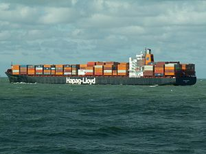 Hannover Express p4, leaving Port of Rotterdam, Holland 10-Aug-2005.jpg