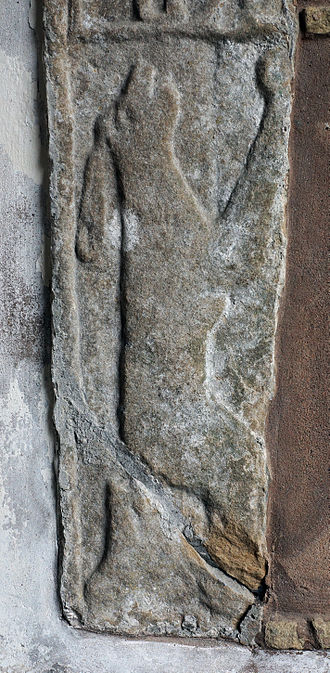 St Michael the Archangel, Llanyblodwel - Hare on reconstructed gravestone in porch
